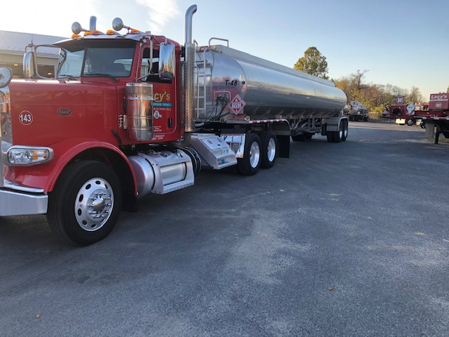Long view of Lacy's Express tanker truck