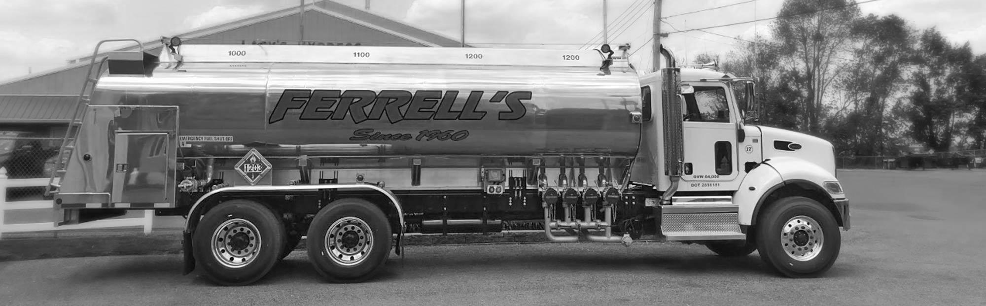 Black & white photo of Ferrell 10 wheel truck